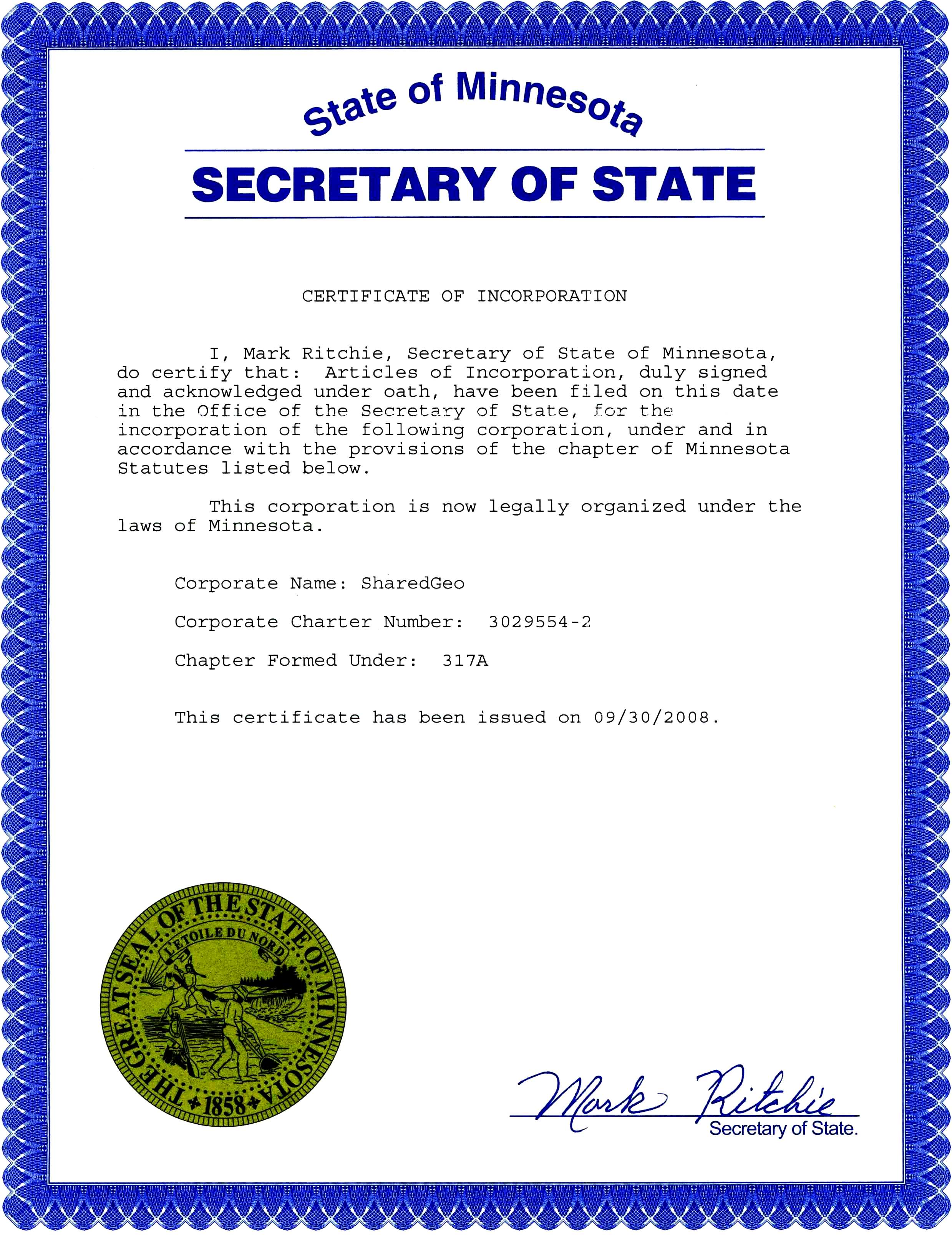 Governance sharedgeo articles of incorporation state of minnesota certificate of incorporation xflitez Images